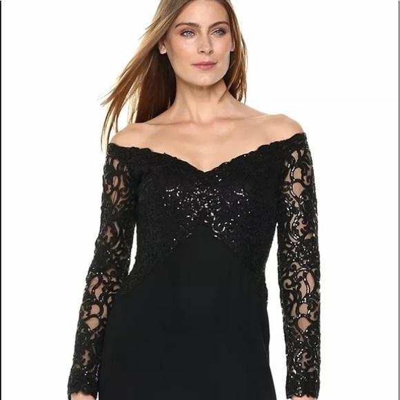 Tadashi Shoj Black Off Shoulder Sequin Lace Gown